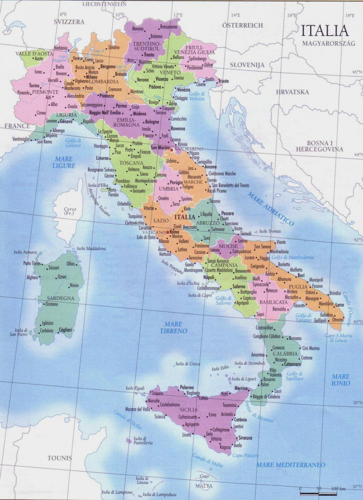 Olaszorszag Terkep Regiok Reszletes Terkep Olaszorszag Regio